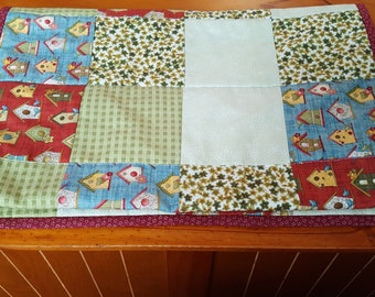 Country table runner, quilted table runner, country kitchen, birdhouse table runner, spring table topper
