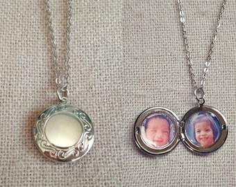 Personalized Round Locket, Your Child's Photo Necklace, Custom Locket Necklace