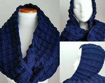Handmade Knitted Oversized Infinity Cowl Dark Blue
