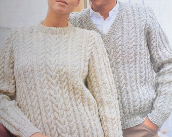 PDF his and hers cable aran vintage knitting pattern pdf INSTANT download pattern only pdf 1970s
