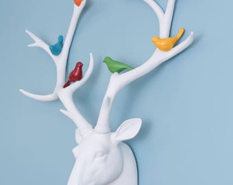 White Mounted Deer Head With Birds On Antlers