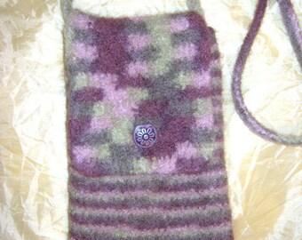 Wool stripe/camo felted bag