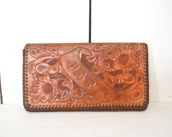Tooled Leather Wallet 70s Floral Honey Brown Large Vintage Billfold JAT Monogram