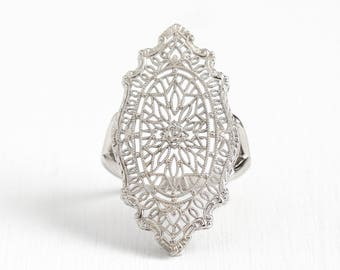Sale - Vintage Filigree Ring - 14k White Gold Shield - Antique 1920s Size 6 Art Deco Flower Floral Fine Intricate Pin Conversion Jewelry