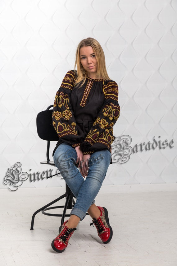 Patterns Natural ship BH 20 Folk Ready 4US Embroidery Blouse Floral Chic Black Ukrainain Tassels to Linen SIZE with and SALE Vyshyvanka ZFqwzX