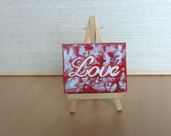 Love Tiny Original Acrylic Painting on Canvas, Miniature Painting, Romantic Art, Small Artwork, Home Decor, Art & Collectibles