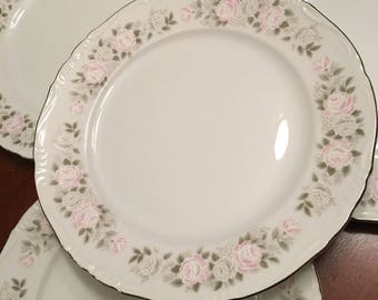 Sheffield Fine China Classic (Set of 4) Dinner Plates White with Pink Roses on Rim