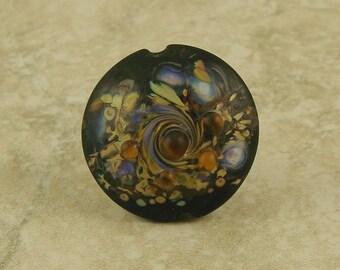 Handmade Black and Purple and Topaz Lentil Lampwork Focal