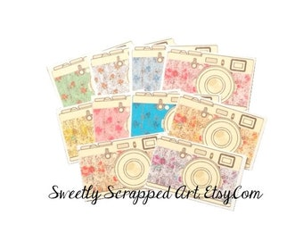 10 Camera Embellishments ... Shabby Chic, Floral, Scrapbooking, Cardmaking, Photography, DIY, Flower, Distressed, Photography, Embellishment