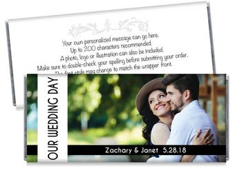 Set of 12 - Our Wedding Day Photo Wedding Candy Bar Wrappers - Personalized Photo Wedding Favors