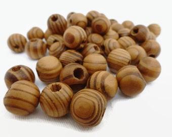 50 x Burly Wood Beads 10mm - Wood Grain Beads