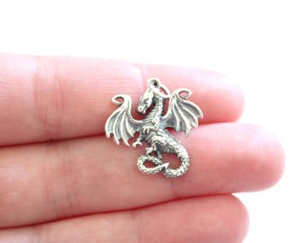 Sterling Silver Dragon Pendant, Silver Dragon Pendant, Realistic Dragon Pendant, Dragon Pendant, Fairy Tale Dragon Pendant, Dragon Charm