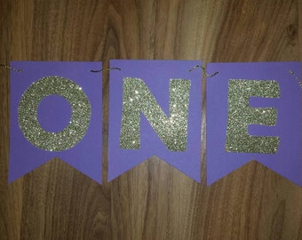 Purple & Gold Glitter ONE High Chair One Banner High Chair  Custom Made  Smash Cake Photo Shoot Bunting Banner 1st Birthday Decoration