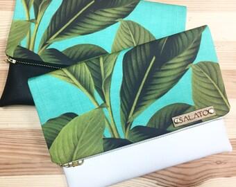Leather Clutch, Palm Leaf Print, Canvas and Leather Clutch, faux leather bag, Leather Bag, Leather Purse, Handbag,