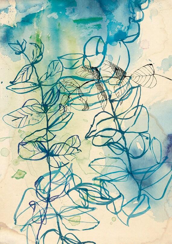 Blue Wash Leaf Wall Art print botanical blue