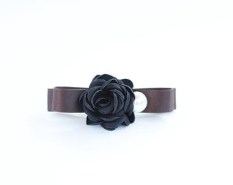 Black Camelia on Rich Silk Ribbon (Brown, Pink, Gray) hair pin, official outfit, dress code, autumn, fall, winter, pearl, bridesmaids,gift