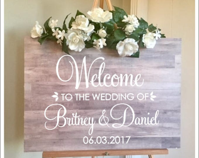 Welcome Wedding Decal Personalized Couples Names and Dates Vinyl Decal for Wedding Sign DIY Lettering Elegant Wedding Decor