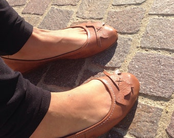 Ballet pumps - Flat shoes - handmade leather Dachshund doxie lover gift