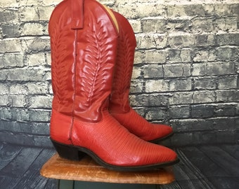Vintage Vivid Red Cowboy Boots Genuine Leather Western Boots / Women's Size 8 Medium / Made In USA / MINT / One of A Kind
