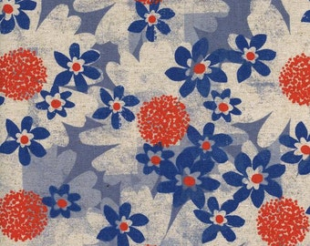 SALE Daisy Fields Blue - Trinket - Cotton/Linen CANVAS - Melody Miller - Cotton + Steel - 0042-22 Sold By the Half Yard