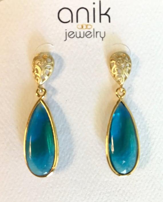 """Blue Quartz Earrings, London Blue Quartz, Drop and Pear Shape Earrings, Drop or Pear Shape Filigree Post Clasp, Gold Plate , 1.5"""" Long"""