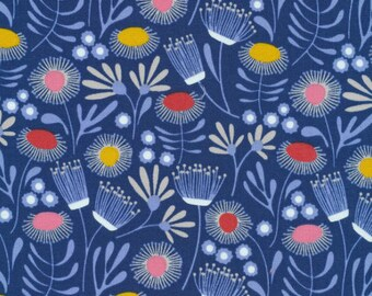 By The HALF YARD - ORGANIC Floral by Cloud 9 Fabrics, Pattern #1660 Packed Floral on Navy, Flowers in Light Blue, Red, Yellow, Tan and White