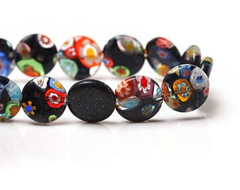 10 Millefiore Flat Round Glass Beads 12mm Black with Vivid Flower Paterns - BD164