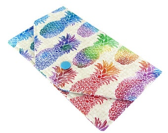 Cash Envelope Wallet - Women's Fabric Checkbook Cover - Lightweight, Slim Design, Colorful Pineapple Print