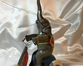 Tin, Litho, Wind Up Toy Circus Elephant Driving Bike, US Zone, Germany