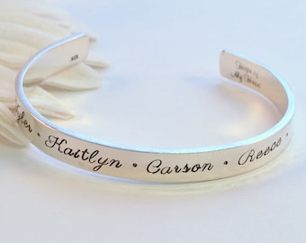 Personalized Cuff Bracelet, Sterling Silver Cuff, Handstamped Mother's Bracelet, Family Names Cuff