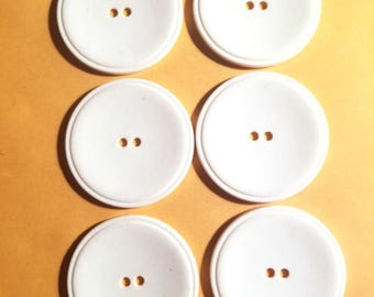 Six large round white buttons 1960s