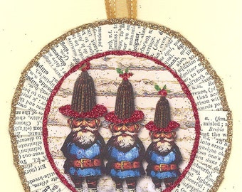 Gnomes Gnome Christmas Ornament vintage style figgy pudding