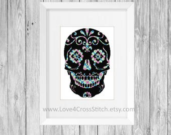 Mosaic Sugar Skull Cross Stitch Pattern Modern, Day of the Dead Cross Stitch Pattern, Floral Cross Stitch, Colorful Skull, Detailed Skull