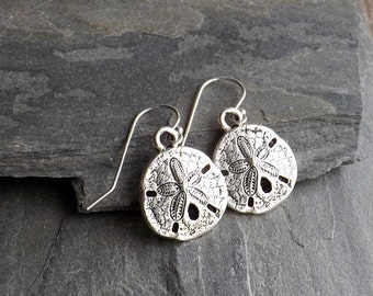 Silver Sand Dollar earrings / Silver plated beach earrings / Beach girl earrings