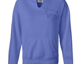 Field Spaniel Stacked Ladies Hoodie Sweatshirt