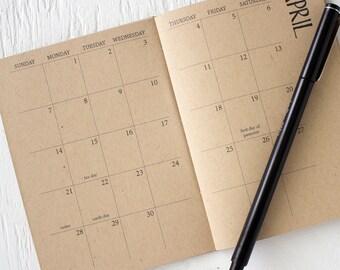 2018 - 2019 mini kraft academic monthly planner | july to december