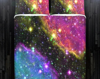 Outer Space Stars Nebula Galaxy Bedding Duvet Cover Queen Comforter King Twin XL Size Blanket Sheet Set Baby Crib Toddler Daybed Kids Bed