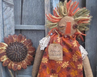 FALL FaRMGirL DOLL~ MaDe To OrDeR~ Fall Decor~ OOAK~ Acorn~ Leaves~ Primitive Doll Art~ Primitive Decor~ Folk ArT Doll~ Primitive~ Pumpkin