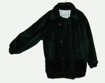 80's green faux fur coat