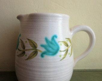 Vintage Creamer, Franciscan Ware Creamer, Tulip Time, Small Milk Jug, Small Pitcher Franciscan Interface, Green Blue Flowers Ceramic Creamer