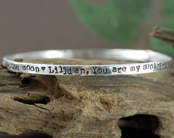 Personalized Mothers Bangle Bracelet, Love you to the Moon and Back Bracelet, You are my Sunshine, Gift for Mom, Mothers Day Gift