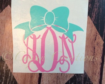 Monogram decal, car decal, monogram bow, personalized decal, vehicle decal, monogram gifts, girl decals, bow decal, decal car, custom decals