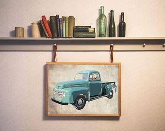 Ford Truck Poster, Ford Truck Art, Pop Art Wall Art, Man Cave Art, Vintage Truck Art, Americana, Old Truck