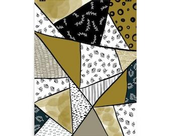 Geometric floral wall art Photo paper poster gold black white stripes
