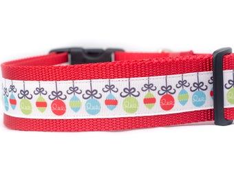"Holiday Ornaments Dog Collar - winter Dog Collar - 1.5"" inch wide - santa dog collar - holiday dog collar - red - Christmas dog collar"