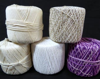 Crochet Thread Mixed Lot of 5 Partial Spools White Ivory Gradient Purple Gold