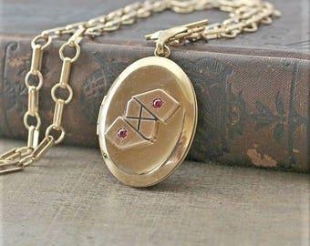 Art Deco Locket, Gold Locket Neckalce, Antique Locket, Gold Oval Locket, Chunky Gold Chain, Unique Locket, Gold Photo Locket Pendant