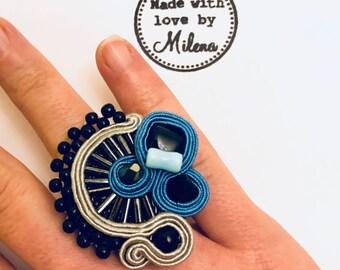 Denim blue statement ring *