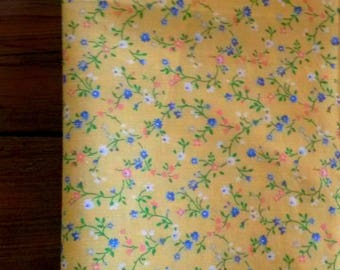 Yellow floral liberty fabric / pattern blue flowers