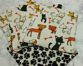 Lunchbox Napkins Reusable Washable Dogs Paw Prints Eco-friendly Cotton Flannel Two Ply with Finished Edges Set of 5 Five Back to School